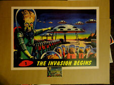 Mars Attacks Invasion Begins poster classic image Martian Alien Flying saucer!!