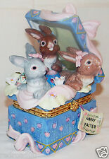 Happy Easter Bunny Gift Package Trinket Box Ceramic