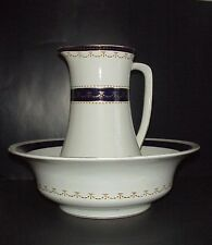Wedgwood Imperial Porcelain Pitcher & Wash Bowl Basin Set Cobalt & Gold C.1906