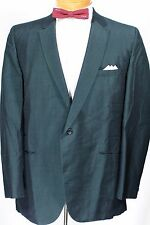 Vtg 50s 60s GREEN SHARKSKIN NUBBY SILK ? Blazer 42 44 R Dual Single Button