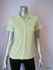 ANN TAYLOR S Lime Chartreuse Yellow Green Knit Short Sleeve Button Up Top Shirt