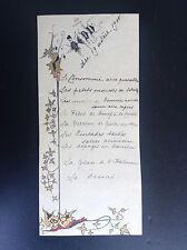 Ancien menu 1900 sur papier très fin