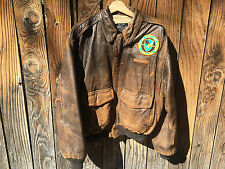 "SWEET!! ""SACK TIME"" AVIREX USAAF Leather Bomber Jacket NASAA - Vintage VTG"