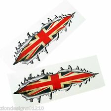 Torn metal British union flag jack Motorcycle car graphics stickers decals x2