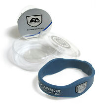 Energy Armor Superband Negative Ion Wristband Bracelet Navy with Silver Letters