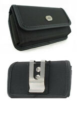 Black Canvas Case Pouch Holster with Belt Clip For ATT Motorola Tundra VA76r