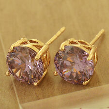 Yellow Gold Filled Round purple Womens small Stud Earrings lot cute earings