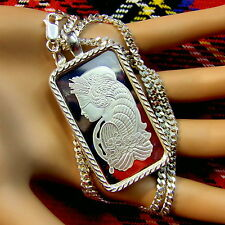 New Sterling Silver lady luck bullion pendant with 1oz fine silver ingot & chain