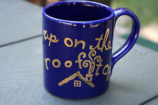 "Christmas Mug Cup Coffee Chocolate Eddie Bauer Home ""Up On the Roof Top"" Blue"