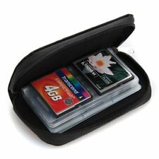 Black Small Zip Up 18 x SD 4 x CF Memory Card Holder Protector Pouch Bag Case
