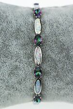 Beautiful Mystic Topaz & Fire Opal Sterling Silver Plated Bracelet