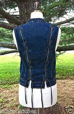 NWOT Free People Vest Denim distressed blue denim Lace Up Back Denim Vest X/S