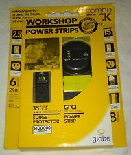 WorkShop Power Strips Contractor Grade Power Strip Surge Protetion Globe NEW