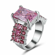 Size 6 Pink Sapphire Wedding Rings Silver 10Kt White Gold Filled Women's Jewelry