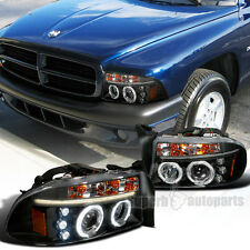 1997-2004 Dodge Dakota Durango Halo LED Projector Headlights Black SpecD Tuning