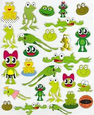 26 Green Swamp Frog Stickers Assorted sizes Peel N Stick Metal Mirrors & Glass
