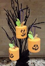 Lot Of 3 Marshmallow  Pumpkin Halloween Ornaments Hand Crafted