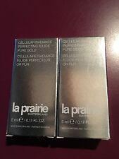 """LA PRAIRIE """"Nouveaute"""" Cellulaire Radiance Fluide Perfecteur Or Pur. 2X5= 10ml"""