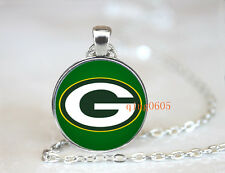 Green Bay Packers football NFL Glass Cabochon Chain Pendant Necklace