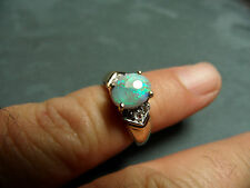 14K Yellow Gold Lightning Ridge Black Opal Ring, Size 5 , 4.0g,