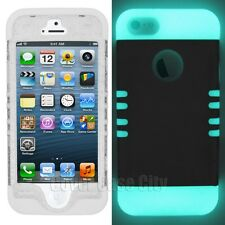 Clear Glitter Hard Cover w/ Glow in the Dark Silicone Skin Case for iPhone 5 5S