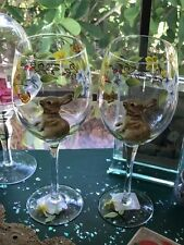 Set of 2 Easter Bunny Large Wine Glasses Hand Painted Spring Garden 19oz