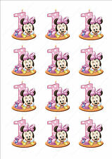 Novelty Minnie Mouse 1st Birthday Girl Pink Fairy Cake Cupcake Toppers Edible