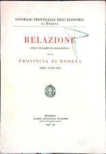 RELAZIONE SULL'ANDAMENTO ECONOMICO DELLA PROVINCIA DI MODENA NELL'ANNO 1929