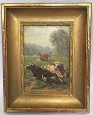 Ölgemälde Portrait Kühe Auf Landschaft Von Jules Bahieu Signiert mit Rahmen