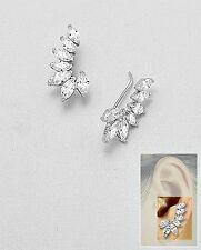 14K WHITE VERMEIL-Marquise Ear Pin AAA Cubic Zirconia Cuff Earrings-SS/925