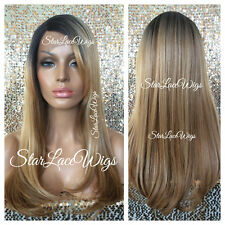 Straight Long Blonde Mixed Lace Front Wig Highlights Dark Roots Bangs Heat Safe