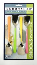 RSVP Endurance Polished Stainless Steel Colored Handle Ice Cream Spoons, 4-Pack