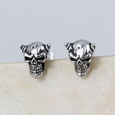 Men's Stainless Steel Fashion Silver Charm Gothic Skull Devil Ear Stud Earrings