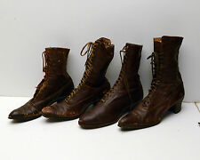 Antique Victorian Boots Womens Leather Shoes lot of 4 Different ones
