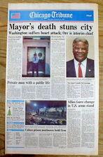 BEST 1987 headline newspaper w Sudden DEATH of CHICAGO MAYOR HAROLD WASHINGTON