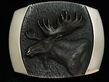 PI07162 *NOS* VINTAGE 1978 **MOOSE** STEVEN L KNIGHT ART SOLID BRASS BELT BUCKLE
