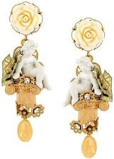 Dolce & Gabbana Cherub Gold-plated Swarovski Crystal Clip Earrings, BOXED