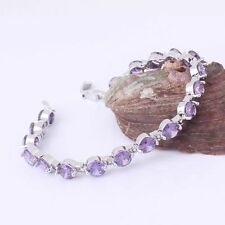 Lovely new 18ct white gold filled purple sapphire crystal bracelet