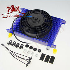 """Universal 15 Row Engine Transmission AN-10AN Oil Cooler+7"""" Electric Fan Kit BLUE"""
