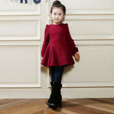 2-9Years Child Kids Girl Long Sleeve Pleated Dress Casual Autumn/Winter Clothing