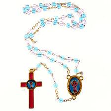 Gesù Divine Bambino Cattolica rosari collana rosa + vetro blu a cubo