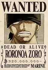 Poster A3 One Piece Ronoroa Zoro Recompensa Wanted Cartel Se Busca