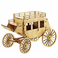 WAGON Wooden Model Kit Miniature Education Coach Carriage Western Style Deco Toy