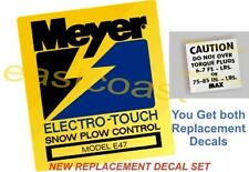 E47 Meyer Electro Touch Pump Snow Plow decal 1 Mini Torq + 1 Pump Decal E-47 MP2