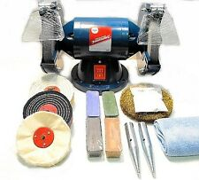 "200W Bench Grinder, 6"" Metal Grinding and 4"" Metal Polishing Machine / Kit"