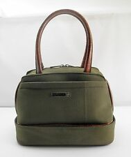 Protocol Toiletry Travel Bag Olive Green Brown Handles - Bottom Zips Open