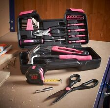 Pink 39 Piece Household Girl Ladies Hand Tool Set Kit Box Hard Storage Case UK