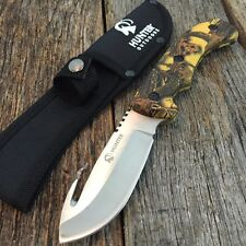 """9"""" Camo HUNTING SURVIVAL FIXED BLADE Tactical Knife Full Tang GUT HOOK YC"""