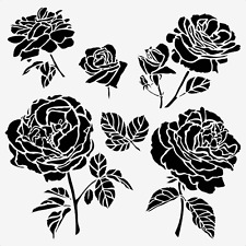 ROSE STENCIL 5  ROSES FLOWER PETAL STENCILS PETALS ART TEMPLATE PAINT NEW BY TCW