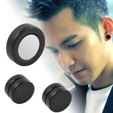 Cool Titanium Steel Mens Women Round Magnetic Clip on Stud Earrings No Piercing